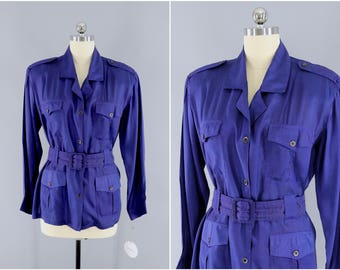 Vintage 1980s Blouse / ADINI Belted Shirt Jacket / Royal Blue Purple / Field Shirt