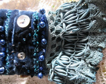 She wore blue velvet, velvet and vintage lace cuff, abalone shell buttons, beads, boho, shabby chic, , one of a kind, fabulous and feminine