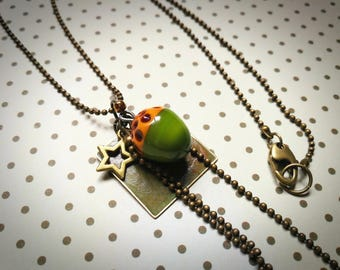 Autumn necklace and its tassel made of Murano glass