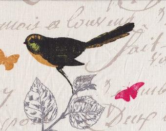 BIRDS 3: APPLIQUE BIRD MOTIF RAW LINEN