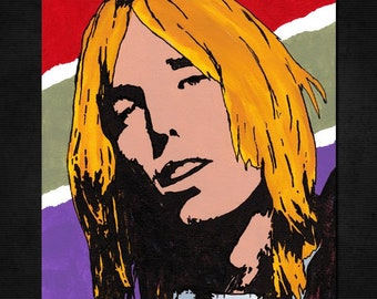 "Original TOM PETTY Pop Art PAINTING - New, 8"" X 10""- Hand-painted artwork. Heartbreakers. Singer Songwriter. Full Moon Fever. Classic Rock"