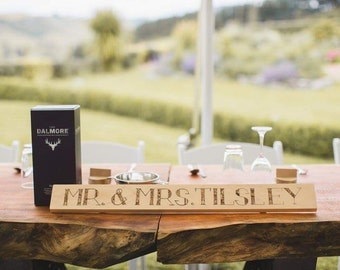 Personalised wedding sign in pyrography with unique lettering