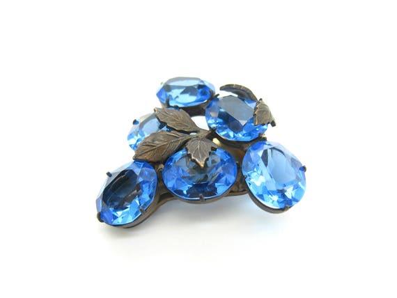 Vintage Sapphire Blue Art Deco Dress Clip 1930s Czech Crystals