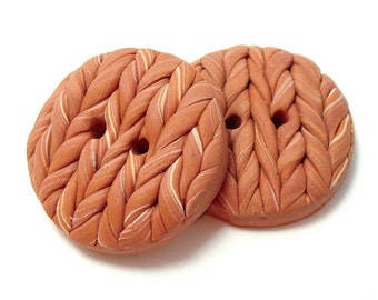 Polymer Clay Buttons knitted satin wheat color set of two