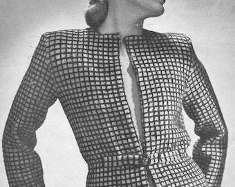 Vintage 1940s Checked Cardigan Knitting Pattern PDF 4514