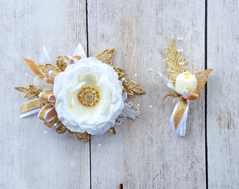 Prom Gold & White Gatsby Wrist Corsage with matching Boutonniere