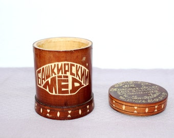 Soviet vintage wooden honey jar Handmade wooden box Bashkir honey container