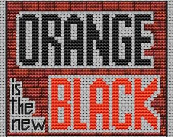 Orange is the new black Instant Download PDF Cross Stitch Pattern Handmade