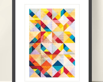 Mid Century Modern poster. Bright colors geometric print. Geometric art print, abstract poster A3. Affiche geometrique. Modern abstract art