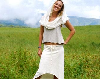 Women's Skirt - High Low Hemline - Natural Color Hemp Organic Cotton Jersey - Summer Skirt