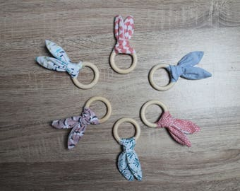 Wooden rattle teething ring and fabric rabbit shape