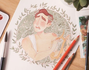 Apollon aquarelle dessin