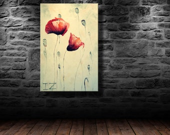 "oil painting, modern art, ""Two poppies"", canvas art, paintings on canvas, wall art, painting, abstract painting, wall painting, art"