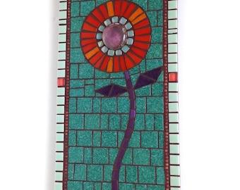 Flower Mosaic Wall Decor, 6x12 Mosaic Flower Panel