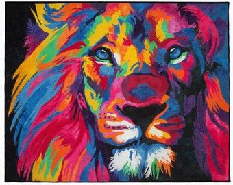 Lion ~ 24x30 Fiber Wall Art - Fibre Wall Art ~ Textile Art ~ Quilt Art ~ Art Quilt ~ Framed Wall Hanging