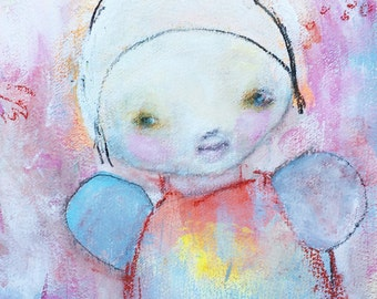 Naive Angel Painting - Childlike Modern Art - Raw Art - Art Brut - Whimsical Painting – Kids Wall Art - Nursery Art