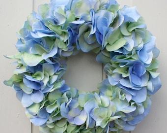 Fri-Collection Door wreath wreath hydrangea blue green 27 cm