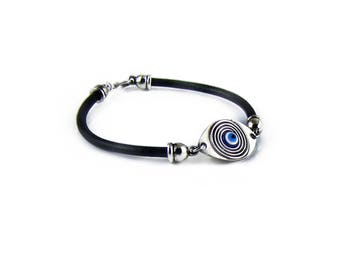 Men Evil Eye Leather Bracelet, Men Accessories, Evil Eye Jewelry, Boyfriend Gift