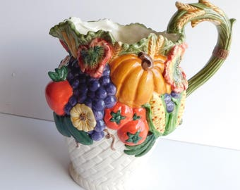 Vintage Autumn Harvest Hand Painted Embossed Vegetables Tea Pot Sugar Creamer