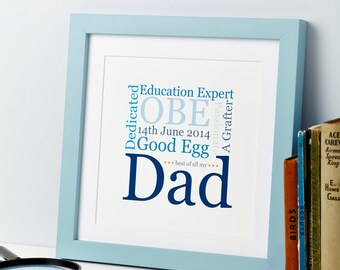 Father's Day Gift - Daddy Word Art Print - Best Dad - Dad Hobbies - Daddy Family Gift - Print For Dad - personalised Dad Print