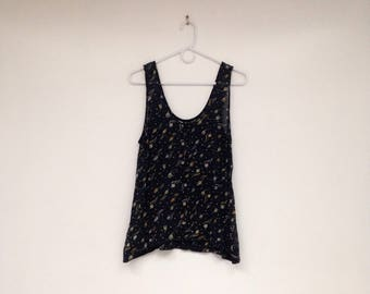 Vintage 1990s Pure Silk Sheer Floral Tank Top