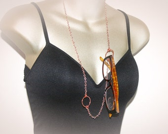 Rose Gold Eyeglass Necklace - Lanyard. ID-Badge Holder or Eyeglass Chain.