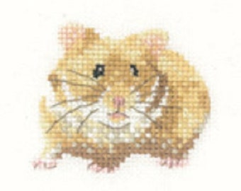 Hamster  Counted Cross Stitch Kit from  Heritage Craft Little Friends on 14ct Aida - cross stitch kit, needlework kit, card making kit