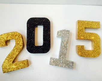 3D Photo Props - New Years 2015 - Self Standing Glittered 2015 numbers - Great for New Years Parties and Graduations