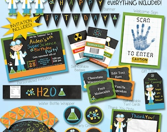 Boy Science party Invitation. Printable 5x7 Invitation and FREE Thank You Card