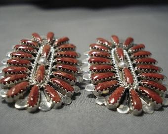 Huge Fabulous Navajo Coral Sterling Silver Native American Earrings
