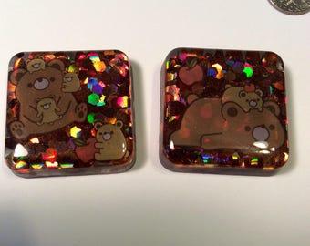 Glitter Bears magnet set