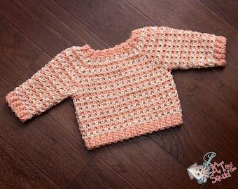 Infant crochet sweater pattrn, Top down baby sweater, long sleeve baby crochet pattern, crochet sweater pattern, girl or boy.