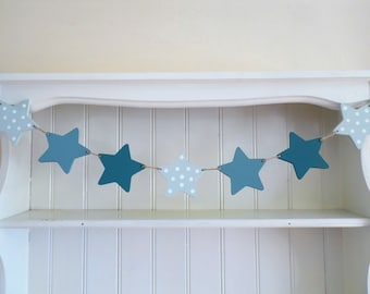 Star Garland-Mint Green-Teal Blue-Peacock Blue-Hand Painted-Wooden Bunting-Nursery Decor-Baby Shower Gift-Christening Gift-Gift for Girls.