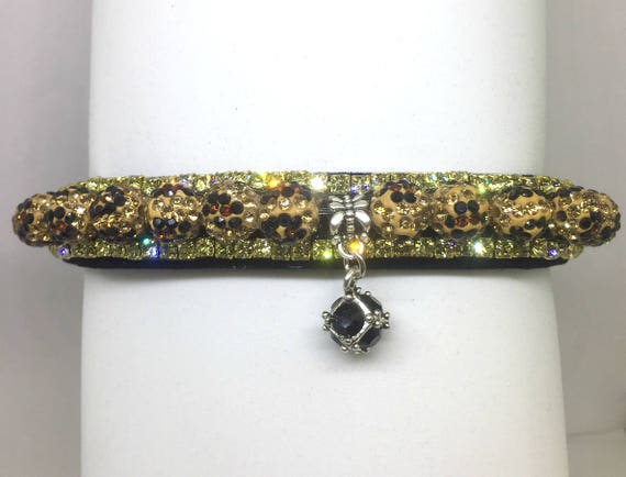 Cutie Pie Pet Collars TM ~Topaz Leopard Velvet Disco Ball~ Crystal Diamante Rhinestone Pet Dog Cat PU Leather Collar USA