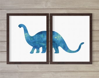 Brachiosaurus Blue Watercolor Dinosaur Wall Art Printable Instant Download -Set of 2 8x10 - Boys Kids Baby Boy Play Room Decor Print
