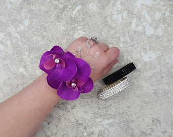 Real Touch Deep Purple Phalaenopsis Orchids Diamond Centers, Hanging Crystals Rhinestone Wrist Corsage & BOX-MATCHING Boutonniere / Hair Pin