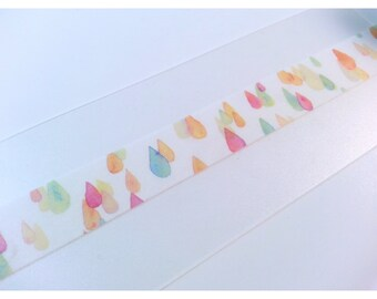 Watercolour Raindrops Washi Tape Sample 24""