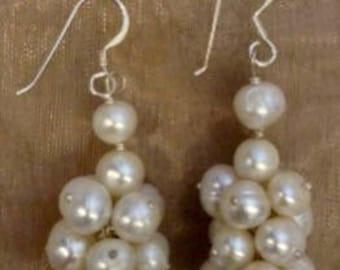 Freshwater Pearl Cluster & Sterling Silver Earrings