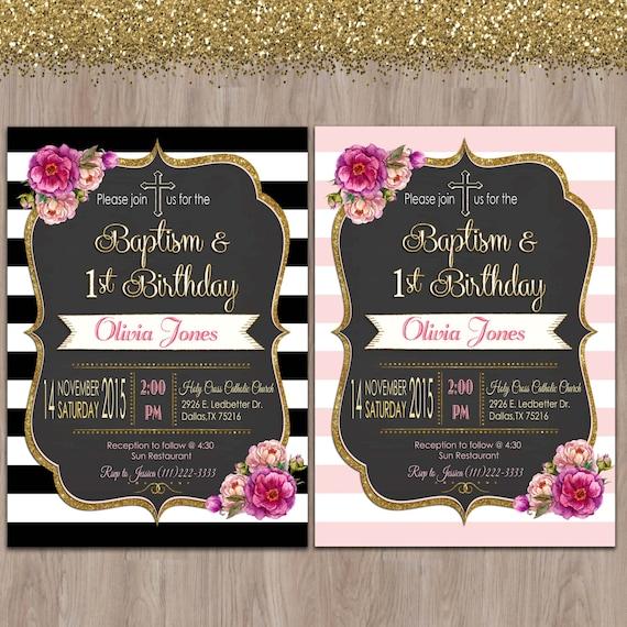 baptism and birthday invitation 1st birthday baptism invites
