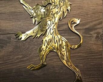 Celtic Lion Sign, Lion Deco, Irish Lion Wall Art, Lion Sign