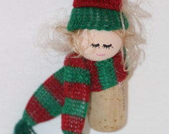 Snow Person Ornament Recycle Wine Cork Or Bottle Necklace Christmas