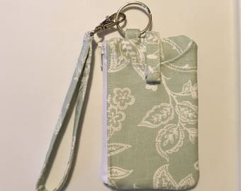 Hand Made Wristlet With ID/ iPhone 5s & 4s Wallet In Mint Floral Thick Duck Fabric