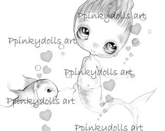 INSTANT DOWNLOAD Digital Digi Stamps..by Chrishanthi's art,A fish with me '.