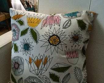 Geometric Space Flowers Mid-Century-Modern-Esque Multicolor Throw Pillow
