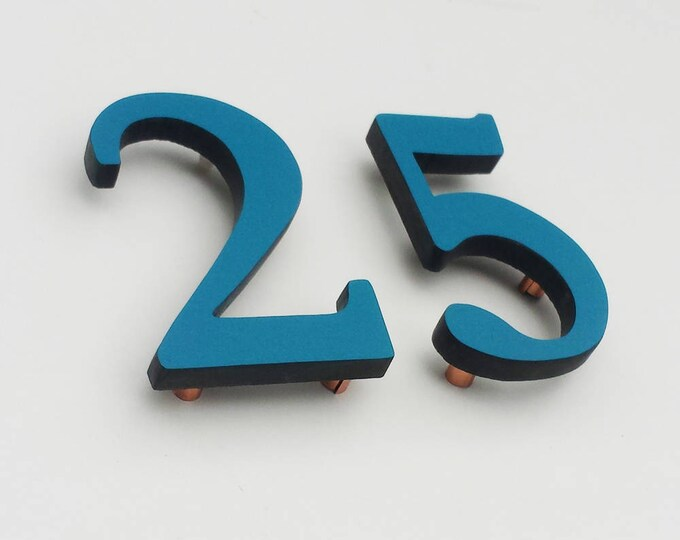 """Modern architectural Coloured House numbers,  9""""/228mm high in Garamond font,  standoff floating in resin board g"""