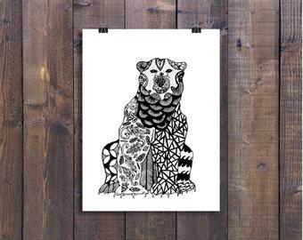Black and White Art, Art Print, Pen and Ink Animals, Polar Bear Drawing, 24 x 36 Poster, Print Wall Art, Nursery Art, Design Drawing