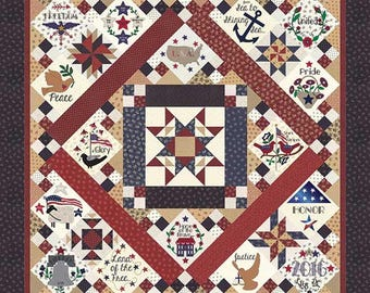 Primitive Gatherings Liberty Gatherings BOM Block of the Month Quilt Pattern 76 x 76