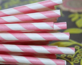 Pink Paper Straws, Paper Drinking Straw, Party Straws, Striped Straws, Wedding Straws, Retro Paper Straws,  Drinking Straws, Made In USA