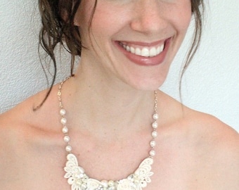 Wedding Necklace- Vintage-Inspired Bridal Necklace- Lace and Pearl Statement Necklace- Bridal Bib Necklace- Pearl and Rhinestone Necklace