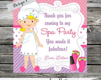 DIY Printable Favor Tags- Spa Party -Gift Tags -Square Thank You Tags -School Treats -Stickers Pink Purple